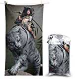Ride On Tiger Girl Warrior Microfiber Beach Towel Compact Quick Dry Super Absorbent Lightweight All Purpose Towel Sand Free Towel for Travel Yoga Gym Swim Hiking,Camping & Bath