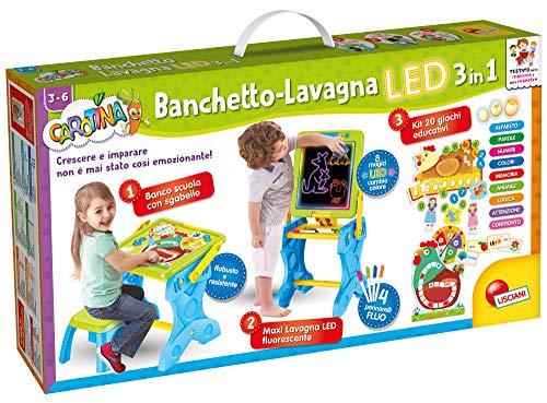 Lisciani Giochi- Carotina Banchetto-Lavagna LED 3 in 1 Gioco per Bambini, Multicolore, 77465