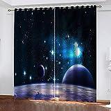 IZYLWZ Cortinas Opacas de Salón Dormitorio Infantil Moderno Aislantes Planeta del Universo Espacial 3D con Ojales 2 Paneles 280x260cm Cortinas Aislantes Térmicas Decoración