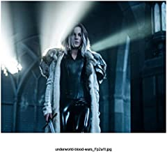 Underworld: Blood Wars (2016) 8 inch x 10 inch Photo Kate Beckinsale Black Leather Outfit Under Heavy Long Coat Sword in Right Hand kn