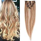 Extension a Clip Cheveux Naturel - Rajout 100% Cheveux Humains Vrai Cheveux - 8 Mèches Volume de Base (#18+613 Sable blond Méché Blond très clair, 20cm = 45g)