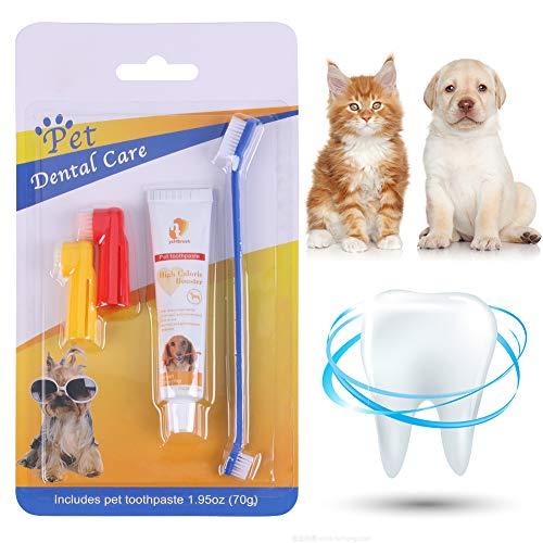 CBROSEY Zahnpflege Hunde,Pet Zahnpasta,Cat Zahnbürste,Cat Toothbrush,Verbesserte Mundhygiene beugt Zahnfleischerkrankungen und Zahnbelag vor, putzt die Zähne und erfrischt den Atem