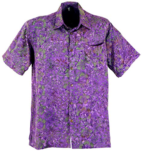 GURU SHOP Hippiehemd, Hawaiihemd, Batik Hemd, Herren, Flieder, Synthetisch, Size:XXXL, Hemden Alternative Bekleidung