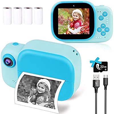 Instant Camera for Kids, Digital Print Kids Camera for Girls Boys as Ideal Toy Gifts, Kids Selfie Video Camera with 32G SD Card, Front & Rear Lens, HD Video Recorder, 4 Rolls Print Paper from LByzHan