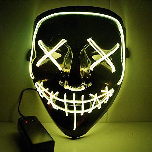 Alxcio Halloween la maschere Spaventoso EL Wire Cosplay Maschera, Led Light Up Maschera per il Costume di Halloween Christmas Party Si illuminano al Buio (Giallo)