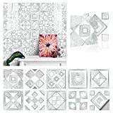 20x20cm Adhesivo para Azulejos de PVC Impermeable, Pegatinas de Baldosas Autoadhesivo, Vinilos para azulejos para cocina y baño 10 piezas (A)
