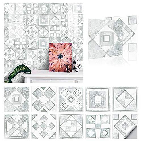 20x20cm Adhesivo para Azulejos de PVC Impermeable, Pegatinas de Baldosas Autoadhesivo, Vinilos para azulejos para cocina y baño