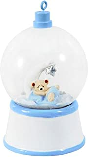 Personalized Baby Bear and Moon Snow Globe Christmas Tree Ornament 2019 - Little Boy Sleeping in Blue Sphere Glass Bed 1st Love First New Mom Shower Grand-Son Kid Gift Year - Free Customization