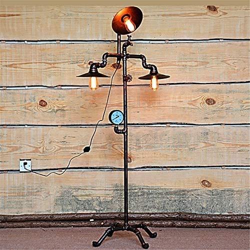 DJSMLDD Stehlampe Industrielle Retro Steampunk Kreative Manometer und Wasserhahn Design E27 3 Köpfe Eisen Wasserleitung Stehlampe 1,58 Mt mit Dimmschalter