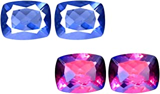 Deluxe Gems 4.68 ct Matching Pair Cushion Cut (9 x 7 mm) Color Change from Blue to Purplish Red Fluorite Natural Gemstone
