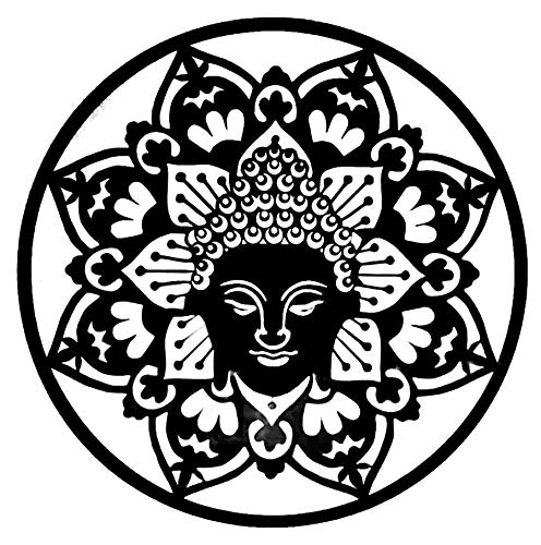 Bellaa 23514 Buddha Meditation Mandala Metal Wall Art Laser Cut Sculptures 24 inch (Black 23514, Large)