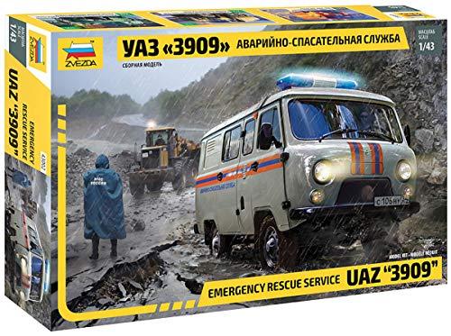Zvezda 43002 500043002-1:43 UAZ 3909 Emergency Service-Plastikbauskit-maqueta de Montaje de maqueta para Principiantes, sin Pintar