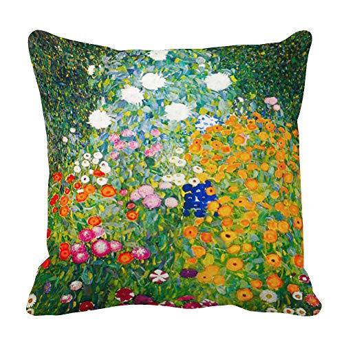 perfecone - Funda de almohada para sofá y coche, diseño de flores de Gustav Klimt, 50 x 50 cm