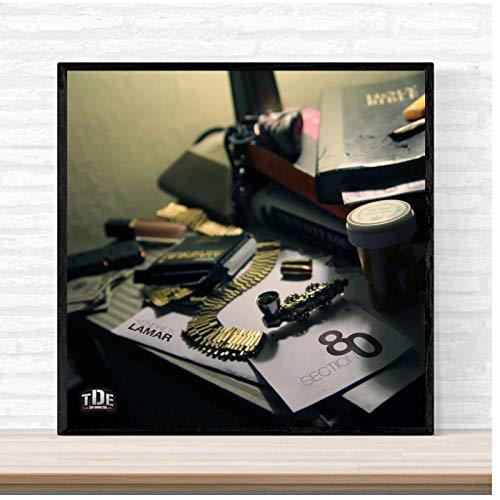 KONGQTE Kendrick Lamar Section 80 Music Album Cover Poster Print on Canvas Wall Art Home Decor-50x50cm No Frame
