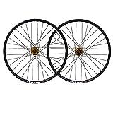 LICHUXIN Oksmsa Ruote MTB 26 Pollici Mountain Bike Set Di Ruote Freno A Disco Lega Alluminio Doppio Muro Cerchio Rilascio Rapido 7 8 9 Velocità 32 Fori (Color : Gold hub)