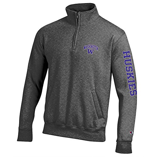 Elite Fan Shop Washington Huskies Quarter Zip Sweatshirt Letterman Charcoal - XL