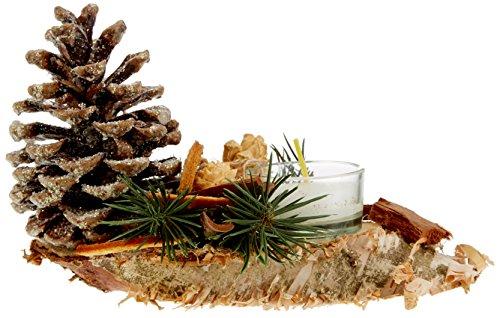 Oppacher Advent 3000088–0000Tavolo gesteck Piccolo con Confezione Regalo, centrotavola per Avvento candeliere per Candele, pigne/Rami/Frutti, Naturale Glitter, Circa 18x 8x 7cm