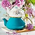 Porcelain Enamel Turkish Teapot - Nostalgic Retro Design Samovar Kettle Midi Size 1.1 Lt (Turquoise)