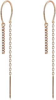Poplar Drop & Dangle Earrings in 14K Gold Plated Cubic Zirconia Artificial Diamond Earrings Cross, Bars for Girls & Women