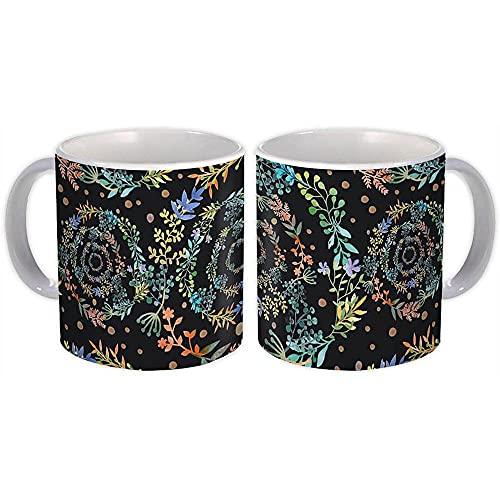 Espiral de flores : Regalo Jarra : Guirnalda Patrón Negro Decoración Hogar Hojas Guirnalda Naturaleza