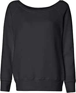 Canvas Womens Sponge Fleece Wide Neck Sweatshirt (7501) SOLID BLACK TRBLND