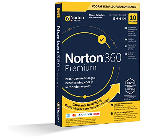 Norton 360 Premium 2020 | 10 Apparaten | 1 Jaar abonnement met automatische verlenging | Secure VPN en Password Manager | PCs, Macs, tablets en smartphones