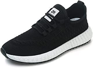 Spring Men's New Lightweight Non-Slip Fly Woven Sneakers Running Shoes (Color : Black, Size : 44)