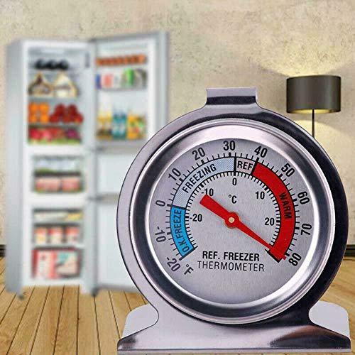 MLDFS 2 Pcs Termómetro para Frigorífico Congelador, Tipo Dial, Soporte Colgante de Acero Inoxidable, Termómetro para Frigorífico con Dial Grande, con Guía de Temperatura Mínima y Máxima