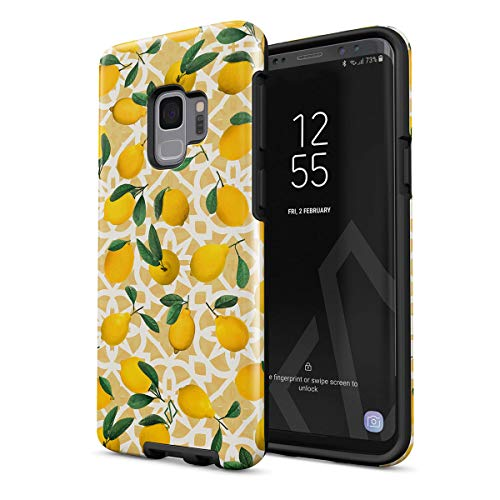 BURGA Phone Case Compatible With Samsung Galaxy S9 - Lemon Pattern Vintage Fruits Citrus Exotic Tropical Yellow Summer Girls Cute Heavy Duty Shockproof Dual Layer Hard Shell +Silicone Protective Cover