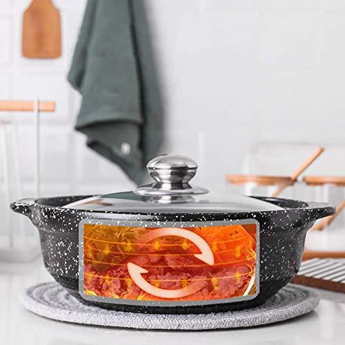 DZX Antihaft-Suppenauflauf Keramik-Maya-Stein hitzebeständig mit Glasdeckelsuppe Hot Pot für Slow Cooker Bibimbap Black 0,95 Liter, Terrakotta-Ton-Eintopf