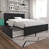Novogratz Kelly Upholstered Storage Platform Bed - Full (Dark Gray Linen)