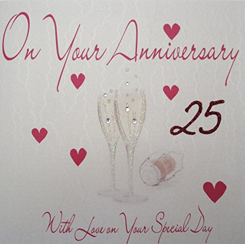 Witte katoenen kaarten wb159-63,5 cm rode champagnefluiten, op je Anniversary with Love On Your Special Day