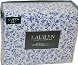 Ralph Lauren Maisy Porcelain Blue Floral 4P Queen Sheet Set Cotton
