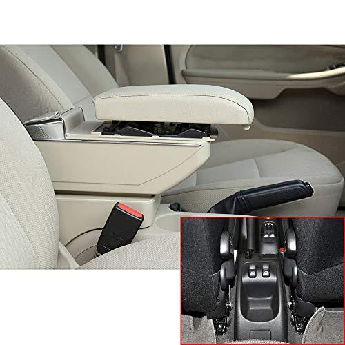 Muchkey Accoudoir de voiture sans USB pour 2006-2013 206 207 Housse d'accoudoir console centrale en cuir synthétique Accessoires de décoration d'intérieur Beige