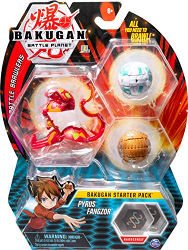 Bakugan Starter Pack 3-Pack, Pyrus Fangzor, Collectible Action Figures, for ages 6 and up