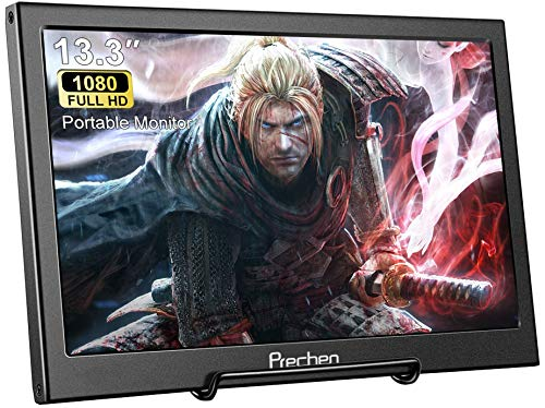 13.3 Inch Portable Monitor, Prechen Small Monitor FHD 1920x1080 IPS Monitor, Aluminum Housing HDMI Monitor Screen,Compatible with Laptop,PC,PS4, PS3, Xbox Ones,Raspberry Pi