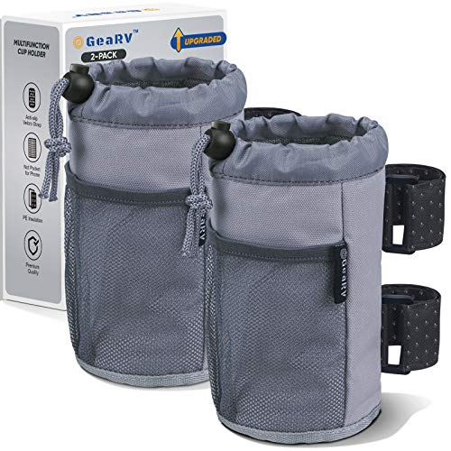 GEARV 2Pack Cup Holder for Bike, Scooter, Golf Cart and Wheelchair; Universal Cup Holders for UTV/ATV, Car, Boat; Drink Holder Accessories with Net Pocket and Cord Lock (Gray)
