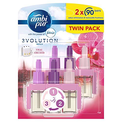 Febreze Ambi Pur 3Volution Air Freshener Plug-In Diffuser Refill, Odour Eliminator, Thai Orchid, 40 ml, (20 ml x 2)