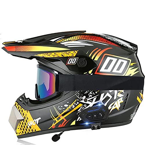 Bluetooth Cascos de Motocross Cascos modulares CertificacióN Dot/ECE Locomotora Masculina Carrera de MontañA Ciclismo Cuesta Abajo Casco Integral Gafas E,S