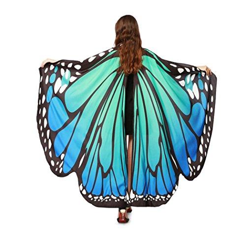 OVERDOSE Frauen 197 * 125CM Weiche Gewebe Schmetterlings Flügel Schal feenhafte Damen Nymphe Pixie Kostüm Zusatz Für Show (197 * 125CM, B-Blau(168 * 135CM))