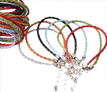 ArRord 36x Mixed Charms Leather Plaited Bracelets Cords for Jewelry Making Chains