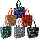 BeeGreen Reusable Grocery Bags Set of 6 Lightweight Recycling Shopping Totes with Long Handle Durable Portable Shopper Baggies for Groceries Supermarket Gift Cute Animal Grey Red Navy Black Green