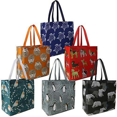 BeeGreen Reusable Grocery Bags Set of 6 Lightweight Recycling Shopping Totes with Long Handle...