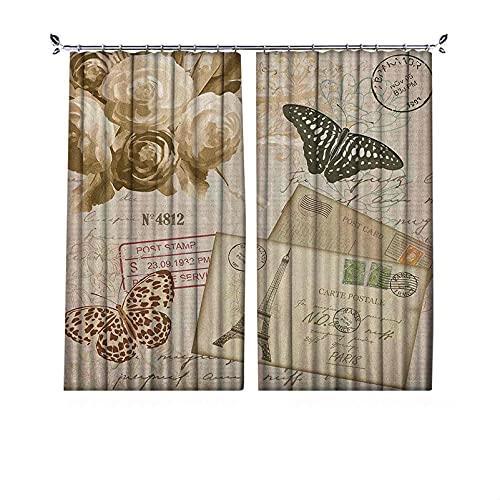Cortinas europeas de 90% opacas, estilo retro, con letras y flores, estampado de mariposas, cortinas plisadas para dormitorio, sala de estar, 172 x 172 cm, color crema negro y marrón pálido