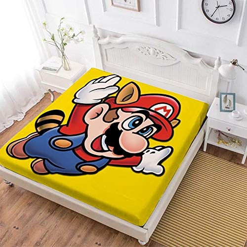 Fitted Sheet,Super Mario (12),Soft Wrinkle Resistant Microfiber Bedding Set,with All-Round Elastic Deep Pocket, Bed Cover for Kids & Adults,queen (70x80 inch)
