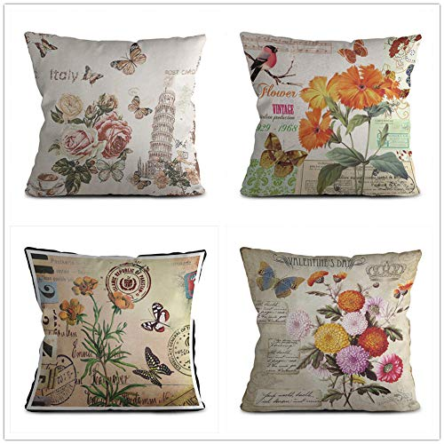 Sofa Cover Cotton Linen Pillow Covers Decorative Pillow Covers Retro Flower Cushion Cover For Livingroom Sofa Bedroom Coffee Decorative 4 Pcs 45X45Cm (With Invisible Zipper)