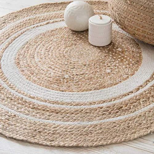 VintFlea Alfombra de yute tejida a mano, fibras naturales, trenzada, reversible, para dormitorio, sala de estar, comedor (16, 70 cm)