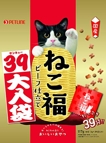 ねこ福 猫用おやつ ビーフ仕立て 39大入袋 国産 117g (3g ×39袋入)