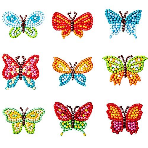 FANDE Pegatina de Pintura de Diamante, Juego de Pegatinas de Diamante de Mariposa 5D, Pintura Adhesiva con Incrustaciones de Diamantes para Niños, Regalo de Cumpleaños para Niños, 2 PCS