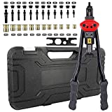 zision tool 16″Hand Riveter Rivet Tool Professional Installation kit Including 12 Interchangeable Mandrel(M3 M4 M5 M6 M8 M10 M12 SAE 10-24, 1/4-20, 5/16-18, 3/8-16 ,1/2-13)And 120 PCS Rivets Nuts